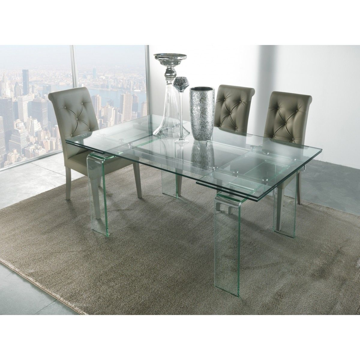tavolo vetro allungabile glass art 676 la seggiola